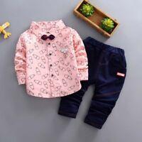 2Pcs/Set Toddler Baby Kids Boys Shirt Tops + Long Pants Clothes Gentleman Outfit