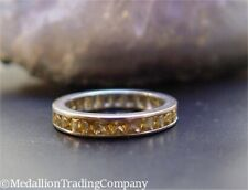 18k White Gold 2.70 Carats Channel Set Princess Cut Yellow Spinel Eternity Band