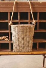 Hanging Door Basket-Wall Pocket with Rope-Grey Wash