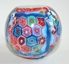 LARGE HANDMADE GLOW IN DARK MULTI-COLOR DESIGN+BLUE TRIM CANDLE BALL+BOX-#72
