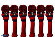Hybrid golf club headcover 6 PC VINTAGE BLUE RED 3 4 5 6 7 8 KNIT Head cover