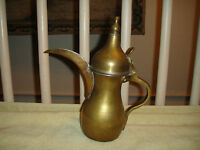Vintage Turkish Arabic Brass Tea Kettle Engraved Bottom Long Nose Spout