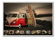 VW Camper Kombi Surfboard Poster Silver Framed Ready To Hang Frame Free P&P