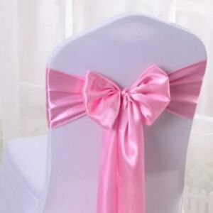 Decorative Chair Satin Sashes Bow Ribbon Wedding Events Banquet Decor Cover