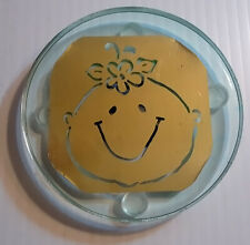LED Brass Coaster - Clear acrylic resin coaster with baby's face and LED light