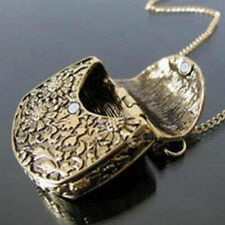 Retro Bag Shape Carved Bronze Alloy Locket Pendant Long Chain Sweater Necklace