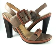 Nine West Ankle Strap Heels Women's Shoes, Kaki and Brown