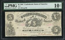 CSA #T-11 $5 1861 SERIES CONFEDERATE PMG -- 10 NET VERY VG -- CV $5,000 WLM2603