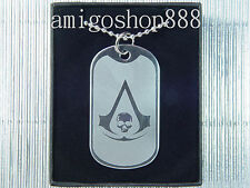 Assassins Creed Black Flag Skull Dog Tag Necklace