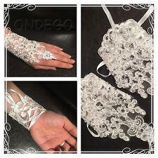 Ivory Brauthandschuhe Handschuhe Spitze Braut Hochzeit Strass Glitzer Pailetten