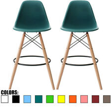 """Set of 2 Teal 25"""" Seat Height Eames Stool Plastc Chair DSW Molded Barstool"""