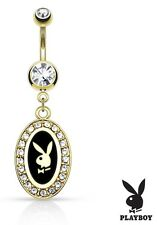 Belly Button Ring Playboy Bunny 14kt plate Frame Paved Gems Dangle Navel