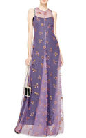 MARY KATRANTZOU $2,380 purple floral glitter tulle mesh maxi dress gown 4-US NEW