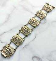 Impressive Antique Victorian Renaissance Revival Silver Gilt Vermeil Bracelet