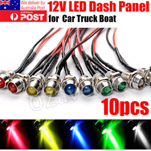 10pcs 12V LED Dash Pilot Panel Indicator Warning Light Lamp Car Boat Marine Van