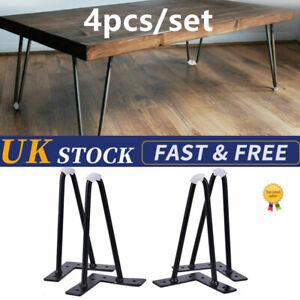 4x Hairpin Table Legs Furniture Set Hair Pin Desk Bench Steel Black Coffee.Chair