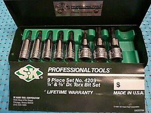 """S-K TORX Professional Tools 8 Piece Bit Set (1/4"""" & 3/8"""") Drive w/ Metal Case"""