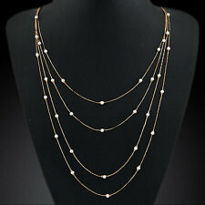 Fashion Pearl Beads Pendant Multi Layer Necklace Elegant Women Lady Crystal Gift