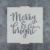 Merry & Bright Stencil - Reusable Stencils of Merry & Bright in Multiple Sizes