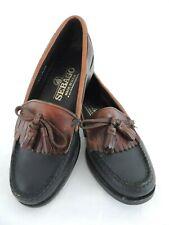 Sebago Women's Loafers 6 M Black Tan Trim Kiltie Bow Tassels Made in USA