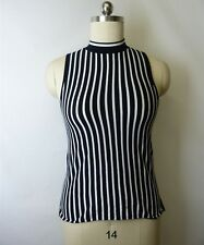 Rag & Bone Women Black White Silk Cotton Knit Mock Neck Vertical Stripe Top SZ L