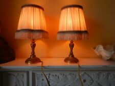 Vintage French bronze pair of tables lamps shades