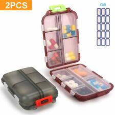 2 Pcs Portable Pill Box Travel Medicine Organizer Case Vitamin Container Holder