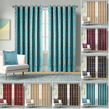 Heavy Jacquard Eyelet Curtains Fully Lined Bedroom Semi Blackout Curtain Pair