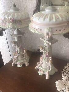 PAIR OF ANTIQUE CAPODIMONTE CHERUB LAMPS