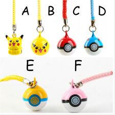 Practical Cell Phone Charm Strap Pikachu Pokemon Ball Jingle Bells Dangle Figure