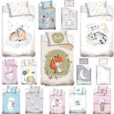 2Tlg Baby Kinder Bettwäsche 100x135 Bettbezug Bär Elefant Hippo Katze Hase Tiere