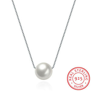 Genuine 925 Sterling Silver 9mm Round Pearl Drop Pendant Necklace Jewelry Gift