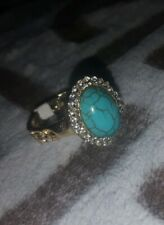 ~Beautiful Sparkly Turquoise Gemstone Gold Plated Ring Size US 9~