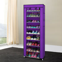 10 Tier Portable Single Shoe Boot Closet Rack Shelf Storage Organizer Cabinet