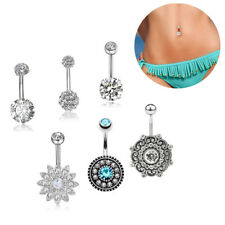 6PCS/Set 14G Stainless Steel Crystal Opal Belly Button Rings Barbell PierHFUK