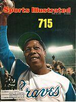 1974 4/15 Sports Illustrated baseball magazine, Hank Aaron, Atlanta Braves VG