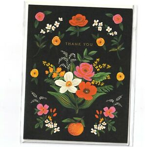 RIFLE PAPER CO. Greeting Card & Envelope - ORANGERIE Thank You, Gold Foil Floral