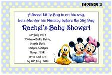 1 x MICKEY MOUSE BOY BABY SHOWER PERSONALISED INVITATIONS + FREE MAGNETS