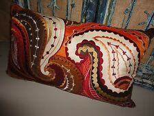 PIER 1 IMPORTS EMBROIDERED PAISLEY RUST COPPER TAUPE OBLONG THROW PILLOW 12 X 20