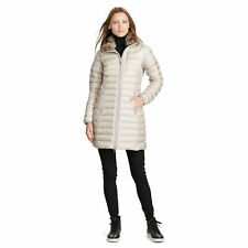 Women's Ralph Lauren RLX Metal Taupe Puffer Long Down Coat Jacket Medium $498.00