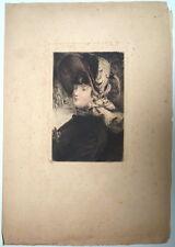 Henri Somm. Jeune femme. Eau-forte. Vers 1900