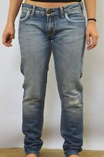 Zu elements Distressed Low Rise Blue Cross Five Pocket Straight Leg Jeans UK12