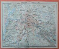 BERLIN und Umgebung Charlottenburg Steglitz Rixdorf historischer Stadtplan 1896