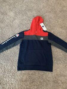 NWT Boy's Champion Hooded Sweatshirt Hoodie Blue Red Gray Size S, M, L