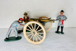 3 CIVIL WAR FIGURES WITH CANNON ~ METAL ~ HAND PAINTED