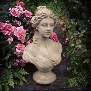 Garden Victorian French Lady Bust Ornament Figure Statue Frostproof Grey
