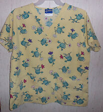 WOMENS Crest FROGS & FLOWERS NOVELTY PRINT SCRUBS TOP  SIZE L