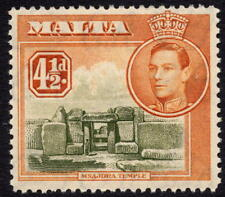 Malta 1938 4½d olive-Green & Yellow-Brown Definitive SG 224 UNMOUNTED MINT