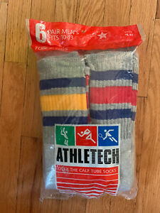 Vintage Mens Athletech Kmart Over The Calf Gray Striped Tube Socks New 10-13