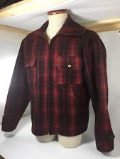Vintage 40's Woolrich Mackinaw Buffalo Plaid Wool Hunting Jacket - Sz 38 Medium